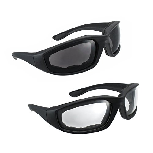 Motorcycle Riding Glasses - 2 Pair Smoke & Clear Biker Foam Pad by grinderPUNCH