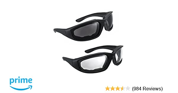 6a2c503a32b Amazon.com  Motorcycle Riding Glasses - 2 Pair Smoke   Clear Biker Foam  Pad  Automotive