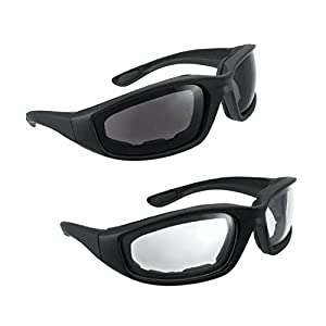 sunglasses for bike riding  Amazon.com: Motorcycle Riding Glasses - 2 Pair Smoke \u0026 Clear Biker ...