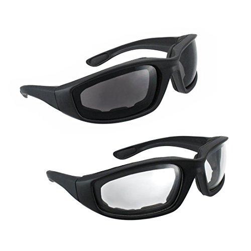 Motorcycle Riding Glasses - 2 Pair Smoke & Clear Biker Foam - Glasses Bikers