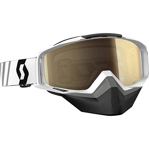 Scott Tyrant Adult Snocross Snowmobile Goggles Eyewear - White/Light Sensitive Bronze Chrome Lens / One Size