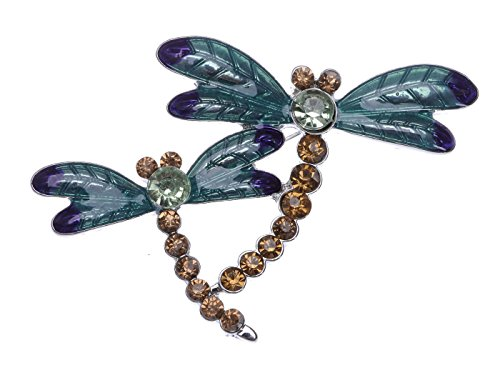 Alilang Silvery Tone Light Brown Rhinestones Blue Green Two Dragonfly Brooch Pin ()