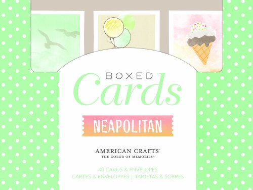 American Crafts Boxed Card Sets for Scrapbooking, 40 Cards/40 White Envelopes, Dear Lizzy Neapolitan