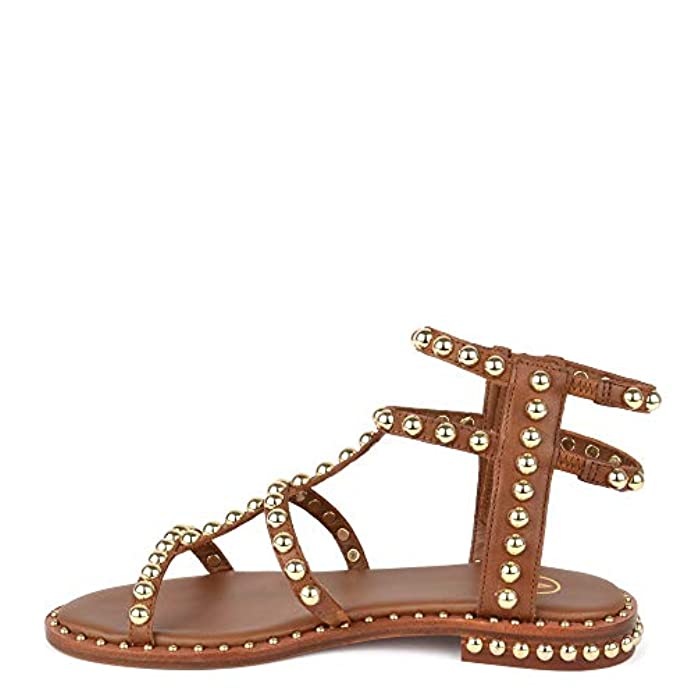 Dorate Borchie Pelle Piatti Power Footwear Con Donna In Sandali Da Marrone Ash