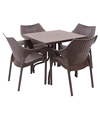 Mavi Brown Outdoor 4 Chair And Olive Table Set