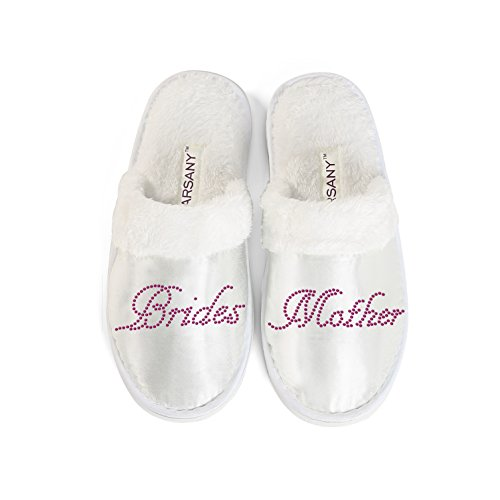 Hot Pink Brides Mother Spa Slippers Hen party Wedding Diamante rhinestone crystal hotel slippers (Rhinestones Women Slippers)