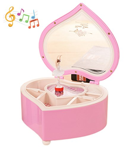 Amperer Ballerina Musical Box Heart Shaped Jewelry Music Box with Rotating Dancer Ballerina Fairy Girl Best Birthday (B2 Pink)