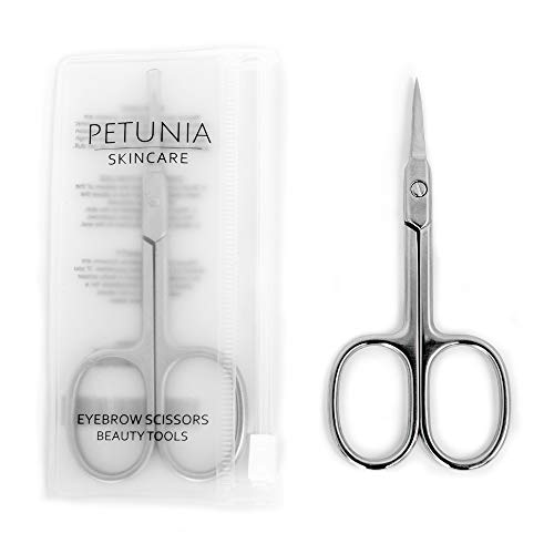 Petunia Skincare Premium Straight Beauty Scissors for Facial Hair, Manicure, Nail, Moustache, Eyebrow, Eyelash, Nose, Ear, Cuticle and Dry Skin Grooming Kit, Men and Women