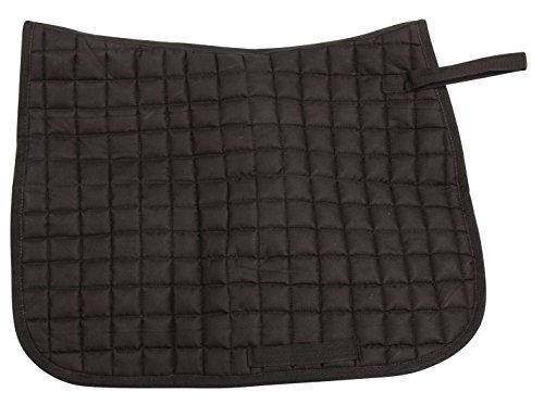 ENGLISH TACK BLACK CONTOURED QUILTED SQUARE HORSE SADDLE PAD MOISTURE FREE (Standard) Correction Quilted Square Pad