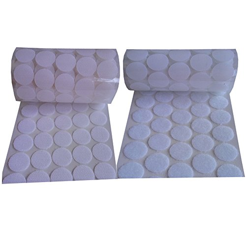 WISHAVE 200pcs (100 Pairs) 20mm Diameter Sticky Back Coins White Round Dot Straps Hook and Loop Self Adhesive Tapes