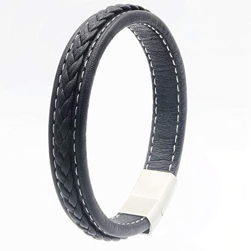 Miricaland Classic Genuine Leather Bracelet for Men Weave Pattern Bangle with Titanium Magnetic Clasp (Black, 20.5 cm)