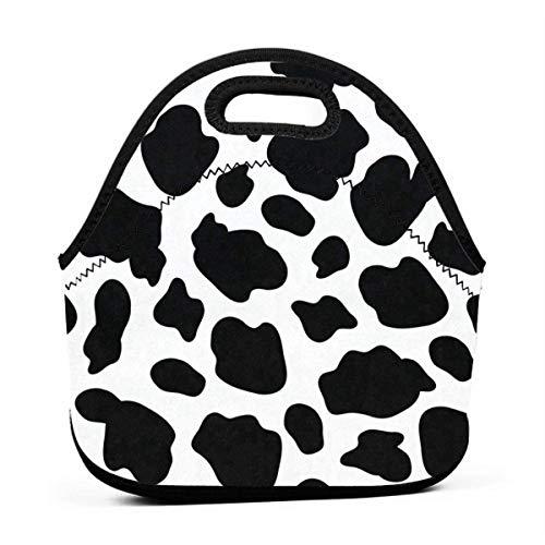 Portable Lunch Bag Tote Giraffe Skin Black And White Neoprene Lunch Handbag Food Zipper Storage Lunch Box For Men Women -