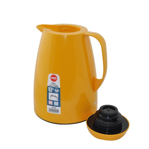 Emsa Basic Vacuum Jug Quick Tip, Orange, 1 L, Tea, Coffee Jug, Thermos Flask, 508359
