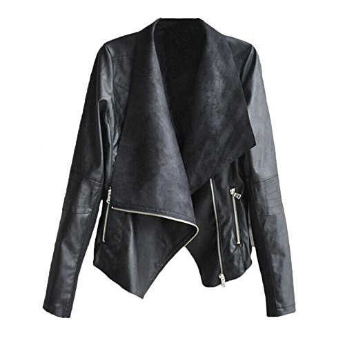 Flank Women Fashion Irregular Vintage Biker Motorcycle Leather Zipper Jacket Coat (S, Black) (Vintage Faux Fur Coat)