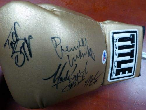 1984 USA Gold Medalist Autographed Gold Title Boxing Glove With 4 Signatures including Pernell Whitaker, Mark Breland, Meldrick Taylor & Tyrell Biggs #M69963 PSA/DNA Certified