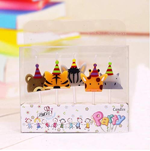 (CharmTM Set of 5 Zoo Jungle Animal Birthday Candles Kids Party Decorations)