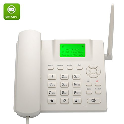 BW Wireless Quad Band GSM Desk Phone - 2 4 Inch LCD Screen, Rechargeable  Battery, Caller ID, Redial, Hands Free Functions - White