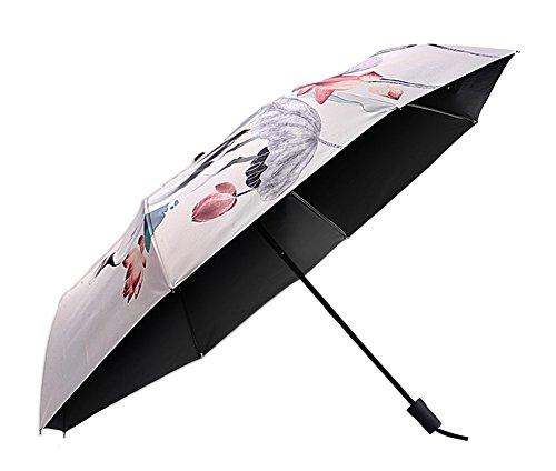 AvaCostume Chinese Painting Travel Umbrella UV Protection Umbrella White