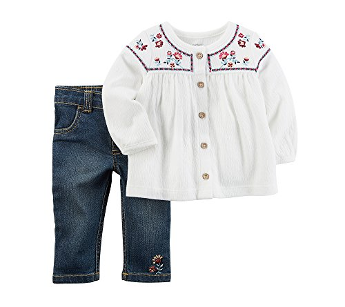 Carter's Baby Girls' 2 Piece Embroidered Tunic and Pants Set 9 Months (2 Piece Pant Set Denim)