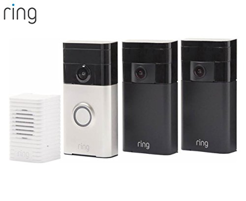 Ring Wi-Fi Enabled Video Doorbell (Satin Nickel) + 2 Ring Stick Up Cam - Outdoor security camera with 2-way audio + Ring Wi-Fi Enabled Chime -  88BBY000FC000