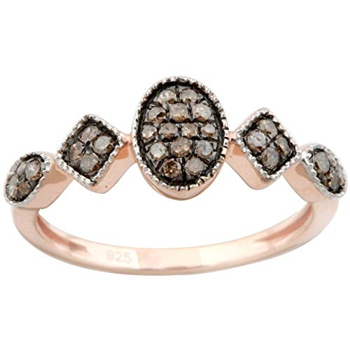 Goldenstar 0.26 Ct. Brown Diamond Band, 14k Rose Gold, Size 6