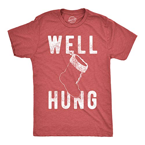 Decorating Your Office For Christmas (Mens Well Hung T Shirt Funny Christmas Stocking Tee Offensive Xmas Gifts (Heather Red) -)