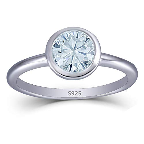 (DOVEGGS Platinum Plated Silver 1CTW 1.6mm Band Width 6.5mm Moissanite Engagement Ring Bezel Setting for Women)