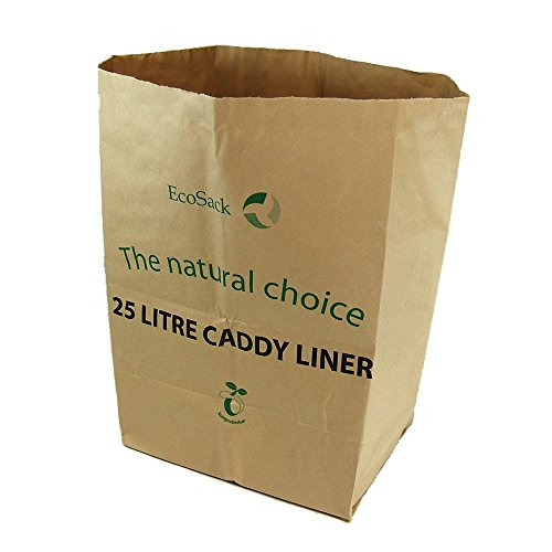 Alle papier composteerbaar tot stoeprand Caddy vuilniszakken, bruin, 25 liter, 10 stuks