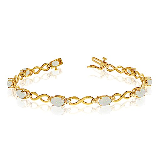 Jewels By Lux 14K Yellow Gold Oval Opal and Diamond Bracelet ()