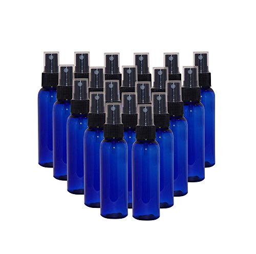 WM (Bulk Pack of 24) 2 oz Travel Refillable, Empty PET Plastic Bottles w/Black Spray Top - Mfg. USA. DIY travel, hydration, aromatherapy, arts & crafts, and more (Blue)]()