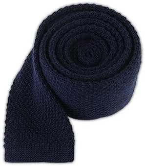 The Tie Bar 100% Knitted Wool Navy Blue Solid Knit 2 Inch Tie