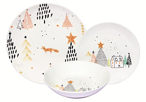 Coupe Soup Salad Bowl - Melange Coupe 18-Piece Porcelain Dinnerware Set (Winter Fox) | Service for 6 | Microwave, Dishwasher & Oven Safe | Dinner Plate, Salad Plate & Soup Bowl (6 Each)