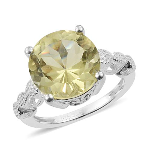 (925 Sterling Silver Round Lemon Quartz Engagement Ring for Women Jewelry Size 7 Cttw 3.3)
