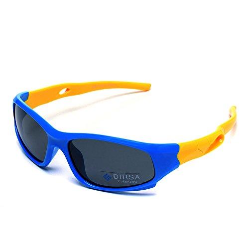 Kids Sports Style Polarized Sunglasses Rubber Flexible Frame UV400 For Boys Girls Child Age 3-10 (Blue&Yellow, black)