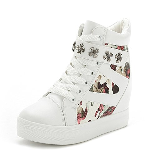 3934d82d4ed3b Leeminus Women's Leather Wedge Heel Camouflage Fashion Sneakers ...
