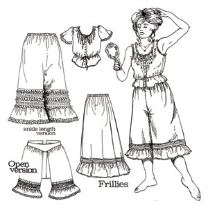 Steampunk Sewing Patterns- Dresses, Coats, Plus Sizes, Men's Patterns Frillies Western Underthings Pattern $12.40 AT vintagedancer.com