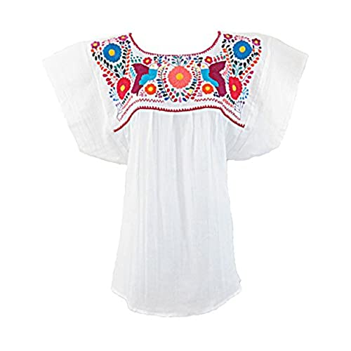 Ethnic Identity Mexican Blouse Campesina Floral (Large, White)