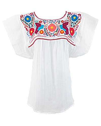 Mexican Embroidered Blouse (Ethnic Identity Mexican Blouse Campesina Floral (Large, White))