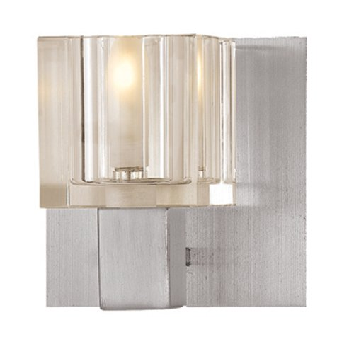 Access Steel Shade (Access Lighting 23831-BS/FCL Astor One Light Brushed Steel Finish Vanity, Frosted/ Clear)