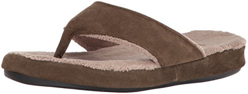 ACORN Women's Spa Thong with Premium Memory Foam Slipper, Suede-Smoky Taupe, Medium / 6.5-7.5