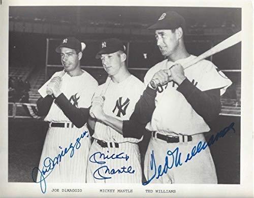 Joe Dimaggio Mickey Mantle Ted Williams Baseball Hof Autographed Signed 8x10 Photo Memorabilia JSA