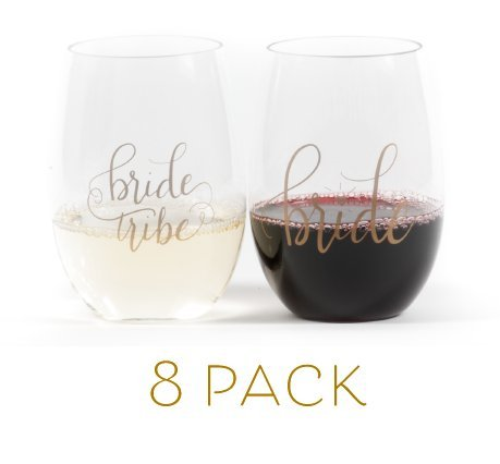 Bride Tribe Durable Plastic Stemless Wine Glasses for Bachelorette Parties, Weddings and Bridal Showers (8 PIECES) by Samantha Margaret (Image #6)
