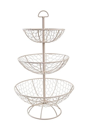 T& G Woodware, Provence-Etagere mit 3Körben, Cremefarben 23050