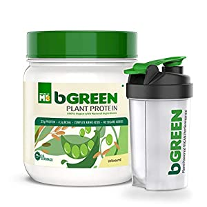 bGREEN by MuscleBlaze 100% VEGAN Plant Protein Powder, 25 g Pure Plant Protein, Unflavoured,500 G 16 Servings Complete…