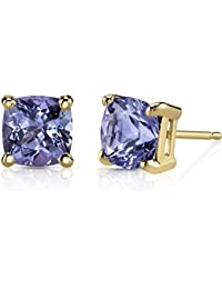 14K Yellow Gold Cushion Cut 2.00 Carats Tanzanite Stud Earrings