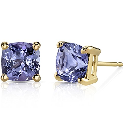 14K Yellow Gold Cushion Cut 2.00 Carats Tanzanite Stud Earrings