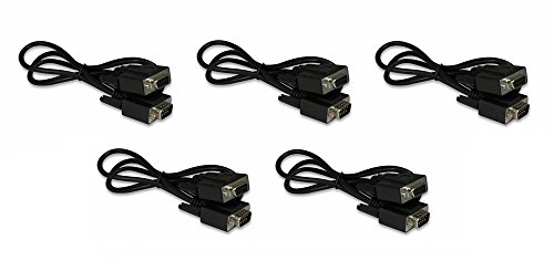 Five Pack Of YCS Basics Black 3 Foot DB9 9 Pin Serial / RS232 Male / Female Extension -