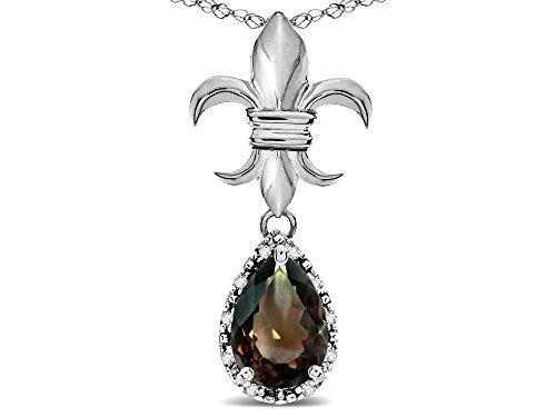 Star K Pear Shape 8x6mm Genuine Smoky Quartz Fleur De Lis Pendant Necklace 18k White Gold ()