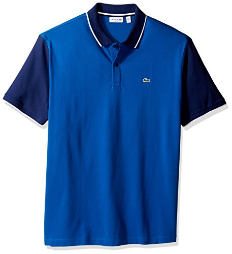 Lacoste Men's Short Sleeve Colorblock Stretch Pique Slim Polo-PH2014, Sapphire Blue/Deauville Blue/White, (Colorblock Pique Polo)