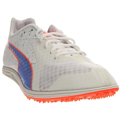 PUMA Women's TFX Distance V5 Track and Field Shoe, White/Ultramarine/Fluorescent Peach Co, 9 B US